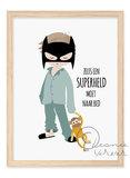 Poster Jongen Pyjama Superheld / Leonie Verver_