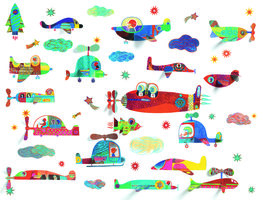 Muursticker Vliegende voertuigen / Djeco