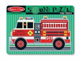 Houten geluidpuzzel brandweerwagen / Melissa & Doug