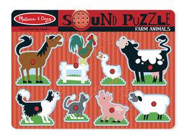 Houten geluidpuzzel boerderijdieren / Melissa & Doug