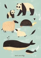 Poster zwart + wit dieren mint 50 x 70 cm  / Petit Monkey