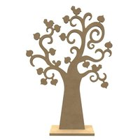 Houten Hartenboom met vogels en standaard / Foam Clay (Gomille)