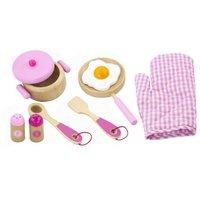 Houten keukenset roze 9-delig / Viga
