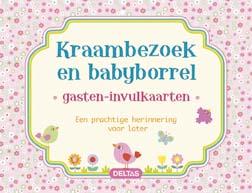 Gasten-invulkaarten Kraambezoek en babyborrel (roze) / Deltas
