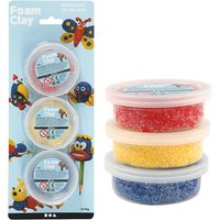 Foam Clay Glitter set van 3: blauw, geel, rood / Foam Clay