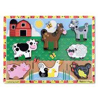 Houten chunkypuzzel boerderij (8 stukjes) / Melissa & Doug