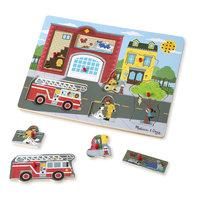 Houten geluidpuzzel brandweerkazerne / Melissa & Doug