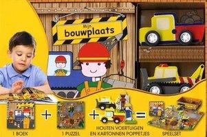 Mijn bouwplaats: boek, puzzel + houten voertuigen / Veltman