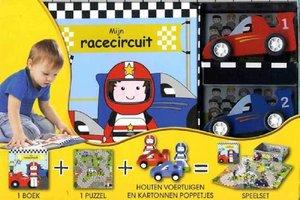 Mijn racecircuit: boek, puzzel + houten voertuigen / Veltman