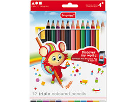 12 kleurpotloden triple coloured pencils / Bruynzeel