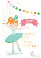Uitnodigingen meisje (set 6 kaarten) / Leonie Verver