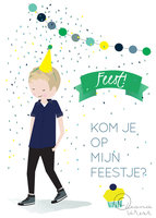 Uitnodiging jongen (set 6 kaarten) / Leonie Verver