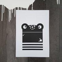 Poster wit Mr. Kikker / Raaf10