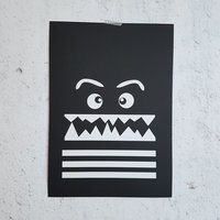 Poster zwart Monster / Raaf10