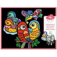 Fluwelen kleurplaten Baby Vogels / Djeco