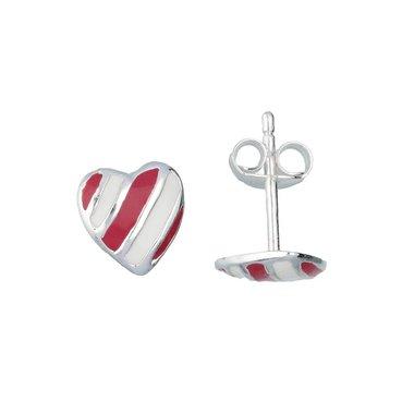 Zilveren kinderoorknopjes - gestreept hart / Lilly