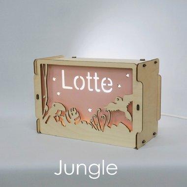Houten BOX lamp Jungle met naam / Het Houtlokael
