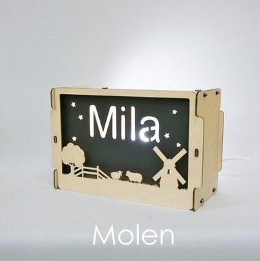 Houten BOX lamp Molen met naam / Het Houtlokael