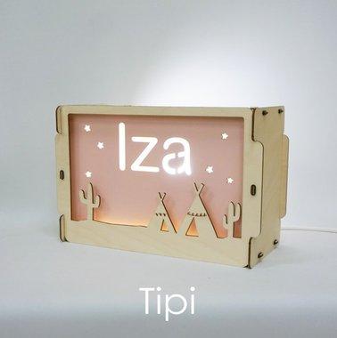 Houten BOX lamp Tipi met naam / Het Houtlokael