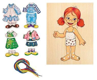 Houten aankleed meisjes set / Woody