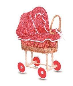 Poppenwagen riet met rood/wit stippenbekleding / Egmont Toys