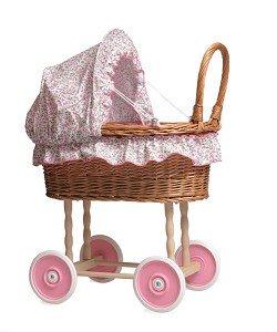 Poppenwagen riet met bloementjes bekleding / Egmont Toys