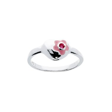 Kinderring Hart Roze zirkonia / Van Leeuwen