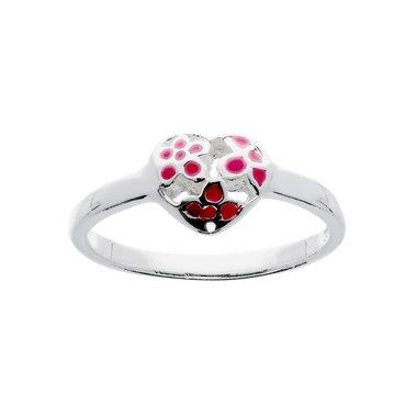 Kinderring Hart roze bloemen / Van Leeuwen