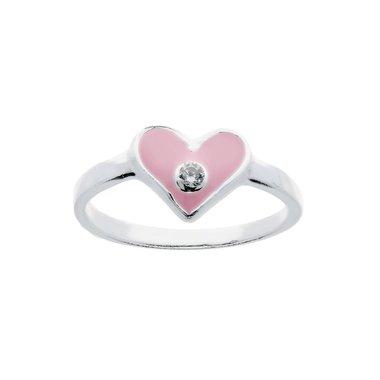 Kinderring Roze hart zirkonia / Van Leeuwen