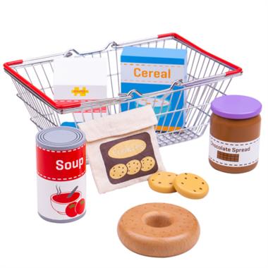 Houten boodschappen in winkelmand / BigJigs