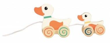Houten trekfiguur eend met baby / Egmont Toys