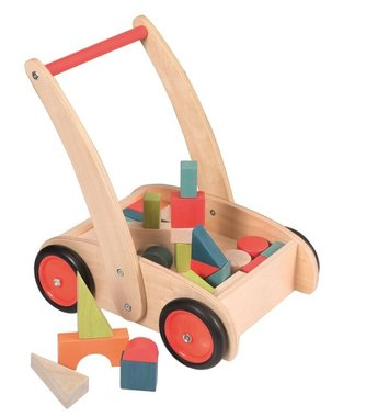 Houten duwkar met blokken / Egmont Toys