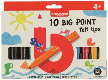 10 Big Point Felt Tips viltstiften / Bruynzeel