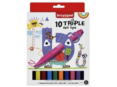 10 triple felt tips viltstiften / Bruynzeel