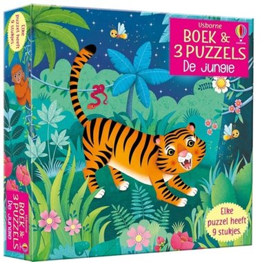 Puzzel en boek De Jungle ( 3x9 st) 2+ / Usborne
