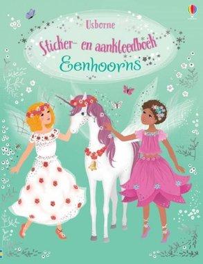 Sticker- en aankleedboek Eenhoorns 4+ / Usborne