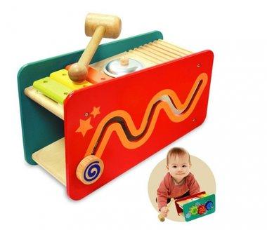 Houten dubbelzijdige hamerbank ballen/muziek / I'm Toy