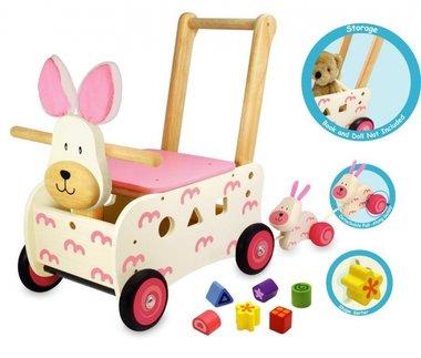 Houten Loop/duwwagen konijn (rose) / I'm Toy
