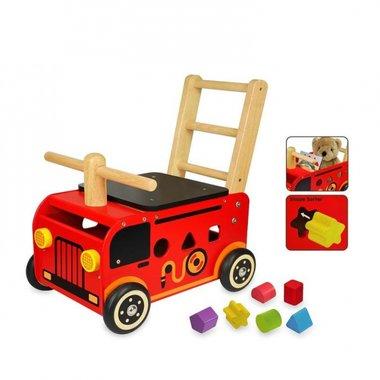 Houten Loop/duwwagen brandweer / I'm Toy