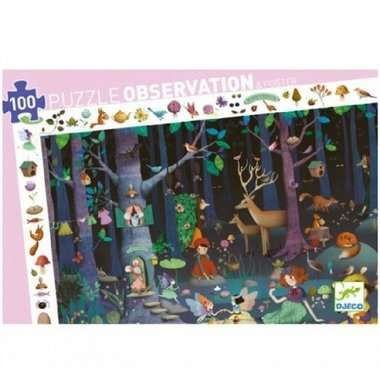 Observatie Puzzel Het betoverende Bos (100st.) / Djeco