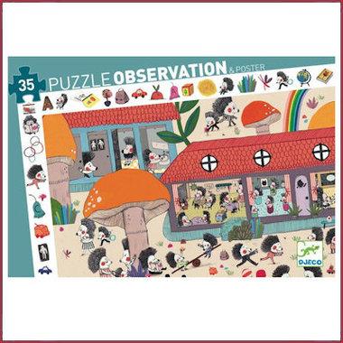 Observatie Puzzel Egeltjes school (35st.) / Djeco