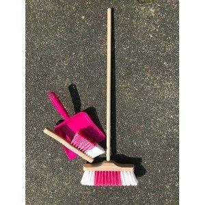 Houten stoffer, bezem en plastic blik roze / Simply for Kids