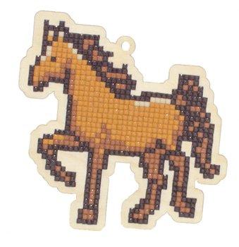 Houten knutselhanger Paard / Wizardi Diamond Painting