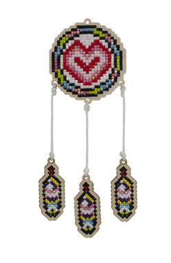 Houten Dromenvanger hart dubbelzijdig / Wizardi Diamond Painting