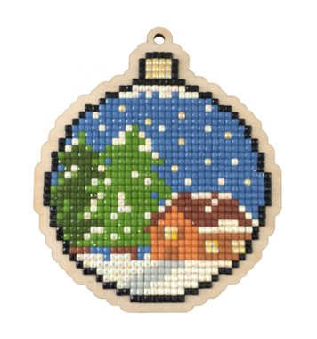 Houten knutselhanger Kerstbal Ornament / Wizardi Diamond Painting