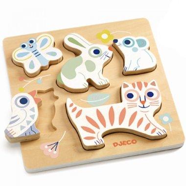 Houten puzzel reliëf BabyAnimali / Djeco