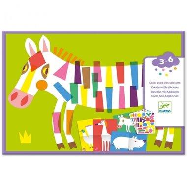 Creëren met stickers: Grote dieren / Djeco