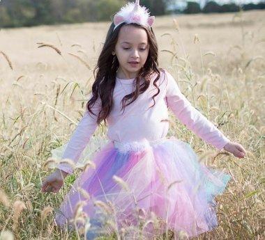Eenhoorn tule rok met haarband (4-7 jaar) regenboog / Great Pretenders