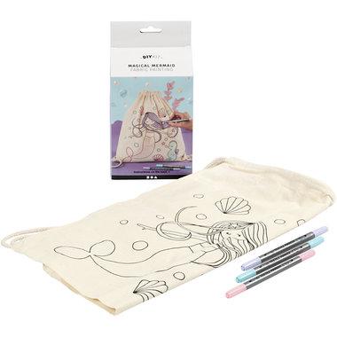 Rugzak met Zeemeermin motief en textielstiften / Hobby