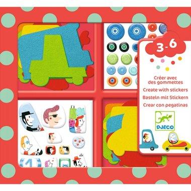 Knutselset creëren met stickers voertuigen / Djeco